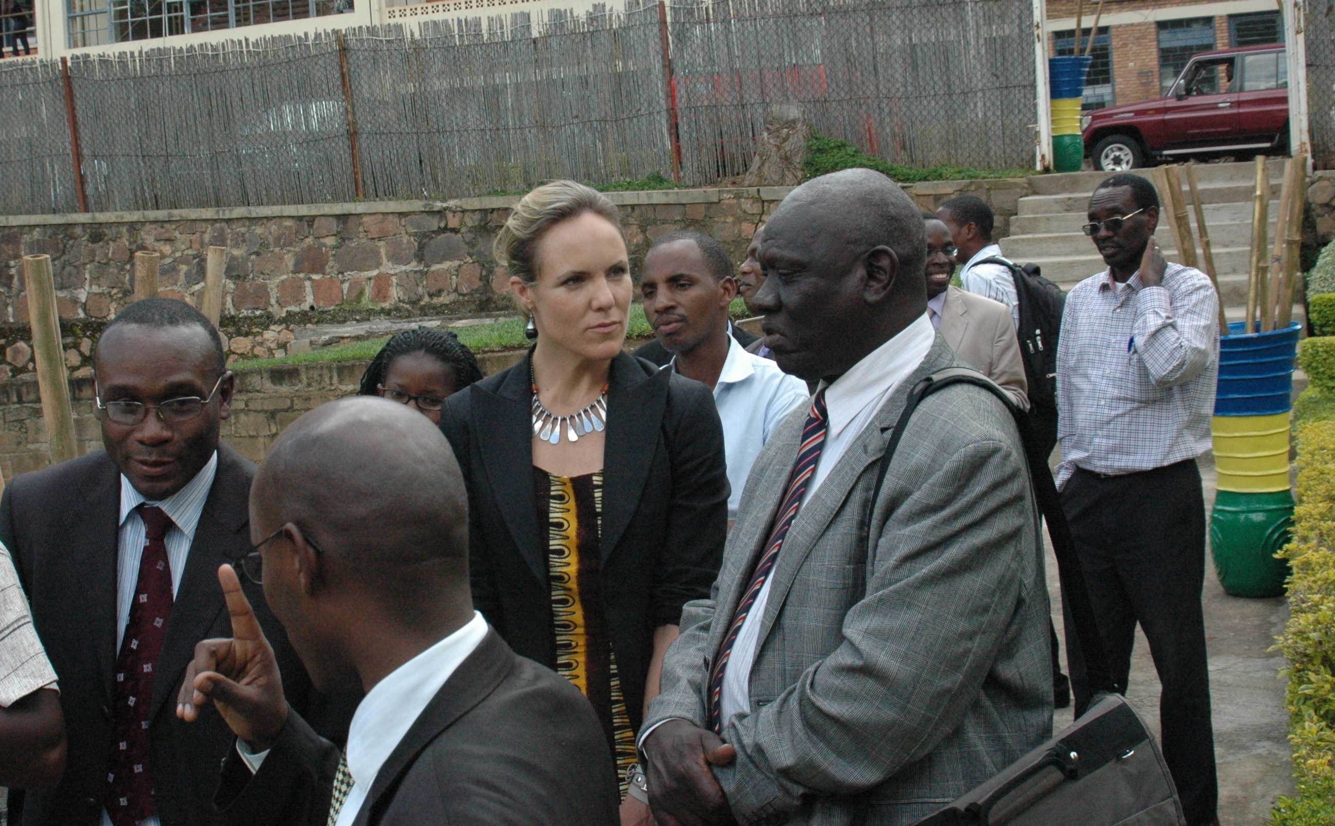 GKI's Sara Farley with Uganda National Council for Science and Technology's Dr. Peter Ndemere (left) and Kenya National Council for Science and Technology's M.K. Rugut (Right)