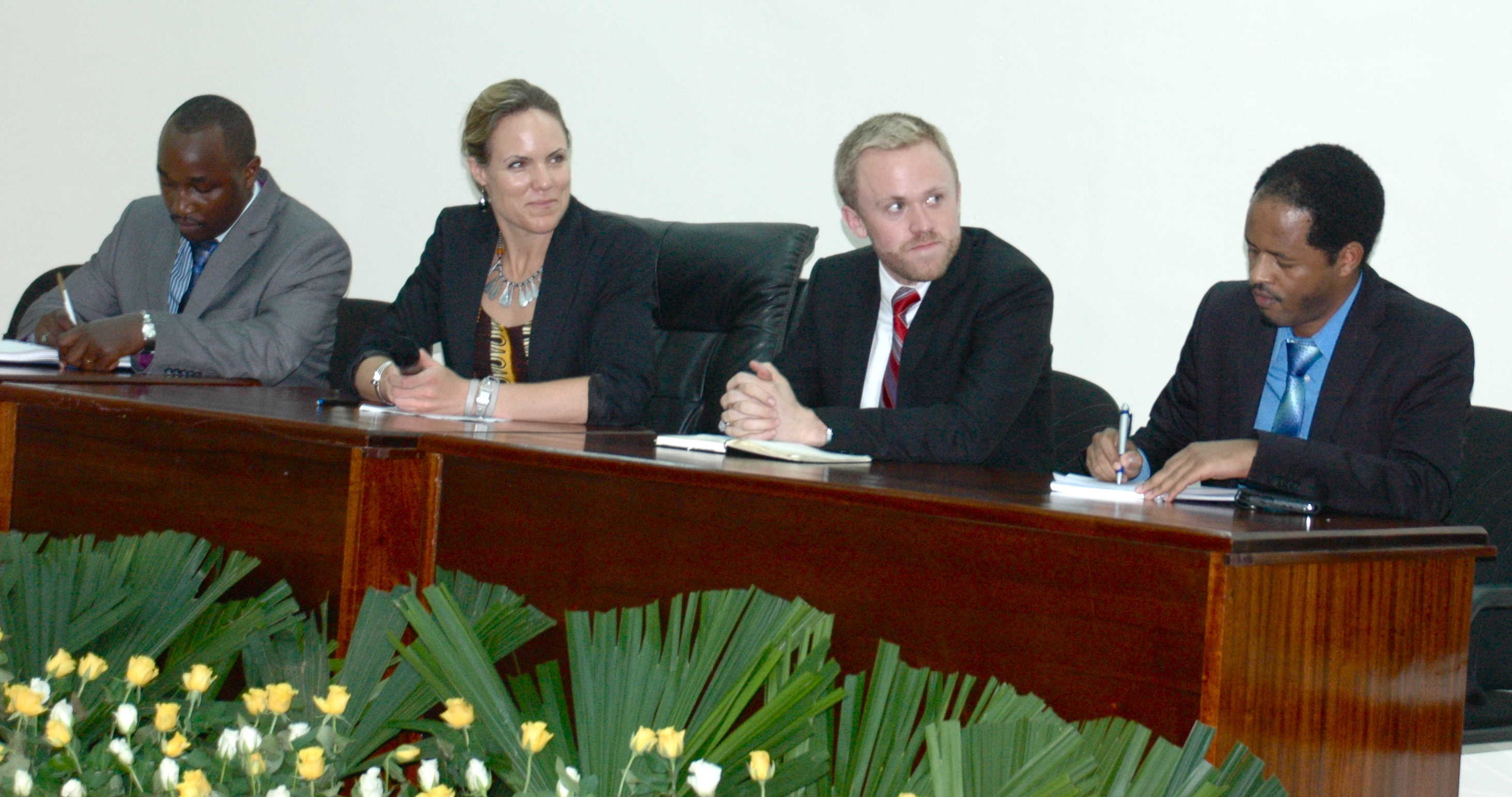 From left to right: Ministry of Education Director General for Science, Technology and Research Remy Twiringiyimana, GKI Chief Operating Officer Sara Farley, GKI Program Officer Andrew Gerard, and Rwanda National Science and Technology Commission Analyst Felly Kalisa speaking at May 2 workshop