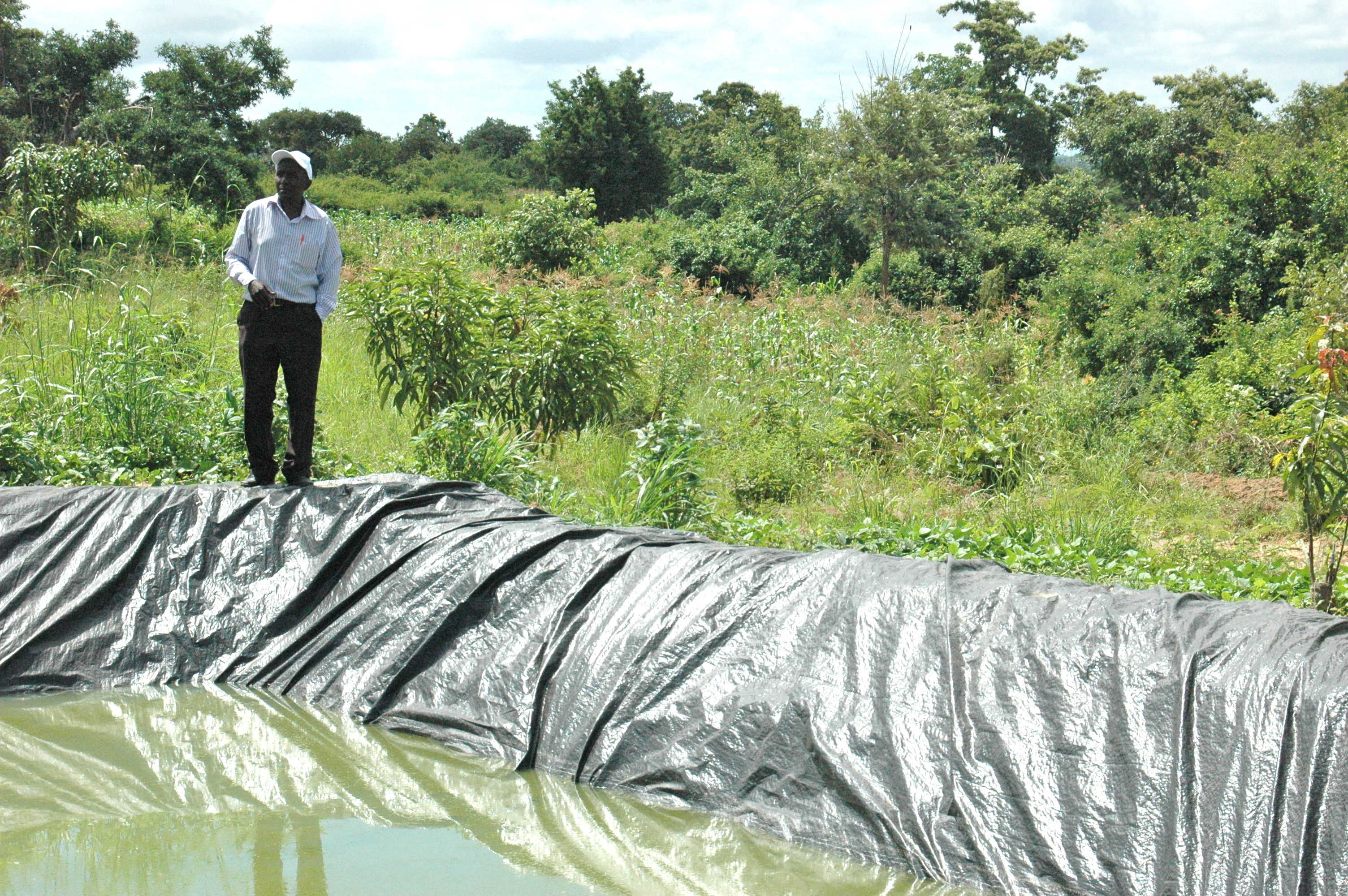 Dr. Patrick Kariuki of South Eastern Kenya University analyzes a farm pond in Kitui