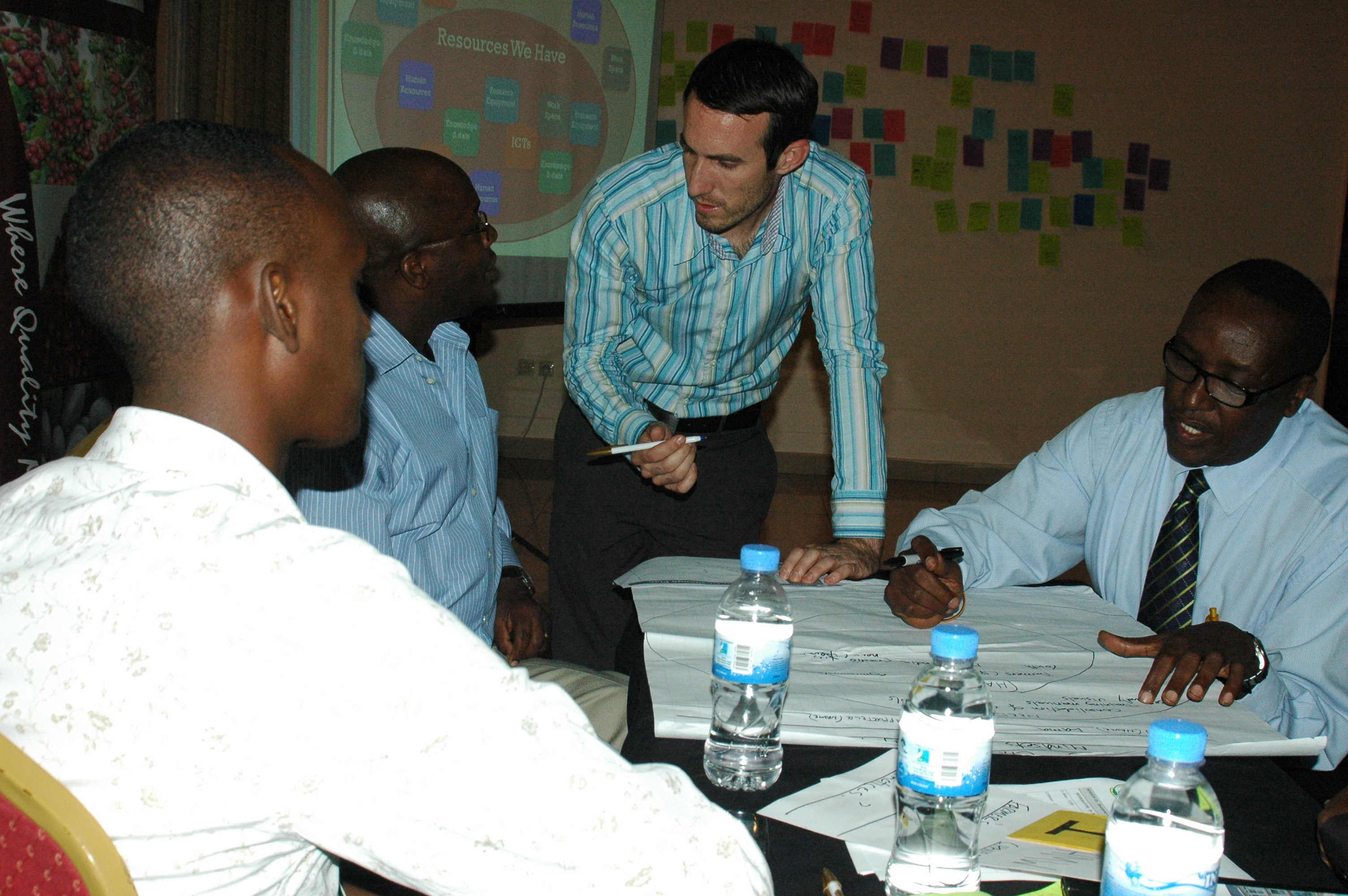 Participants map the resources they have and need to solve specific coffee challenges. Photo Credit: GKI