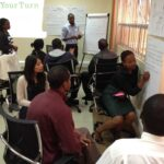 Participants learning facilitation skills in Kampala