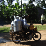 Dairy delivery by motorbike in Tanzania. common in East African Photo: