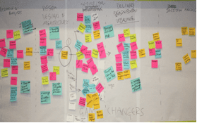 Solutions Visioning participants built this strategy map to answer the question: How might we radically improve farm-level access to transparent, timely market information? Photo Credit: GKI.