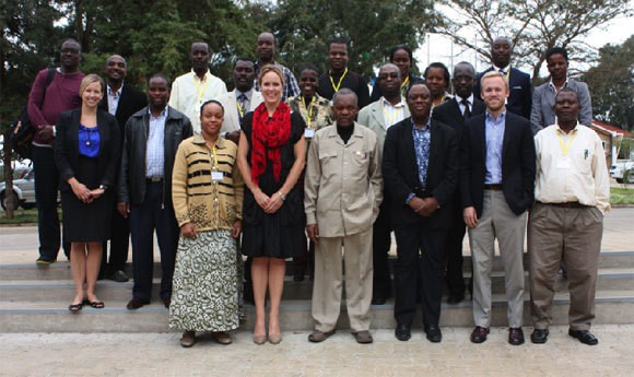 Members of the initial training-of-trainers cohort with representatives of UNESCO, the Vice Chancellor of NMAIST, and GKI in August 2012.