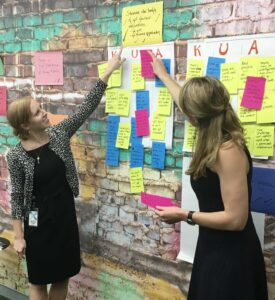 Katie Bowman and Sara Farley pointing at sticky notes guiding the discussion around knowns, unknowns, and assumptions