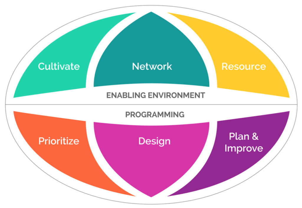 Improved Innovation Decision Making Visual Description of the 6 components: cultivate, network, resource, prioritize, design, and plan and improve