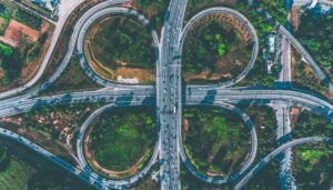 Photo of a complex road system made up of many lanes and offramps