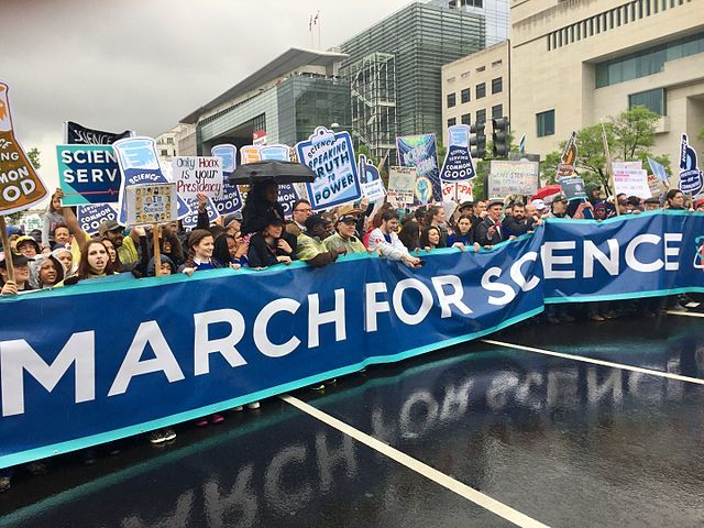 March for Science Participants braving the rain to support science